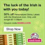 50% Off Shamrock Sticky Labels at Mabel's Labels