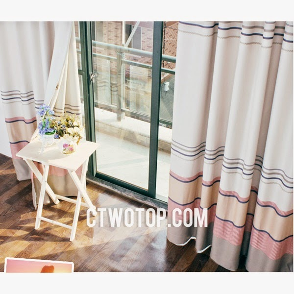 Best Discount Affordable Unique Pink And Orange Striped Curtains LXTW040219