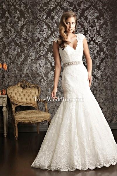 Lace-up Romantic Mermaid Wedding Dress V-neckline V-back