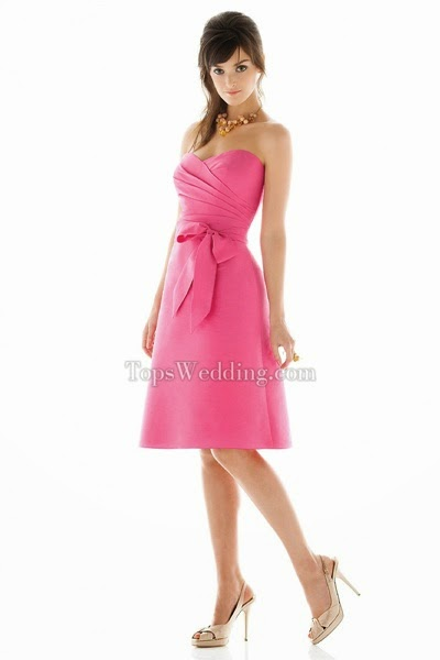 Taffeta Strapless Knee-length Bridesmaid Gown Matched with Bow Tie