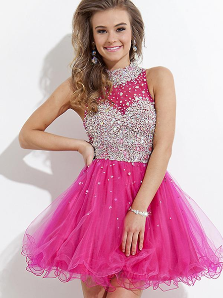 High Neck Sleeveless Short/Mini Prom/Cocktail Dress