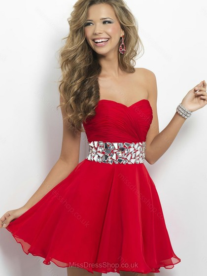 A-line Sweetheart Chiffon Short/Mini Rhinestone Homecoming Dresses