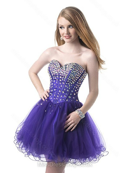 A-line Sweetheart Satin Tulle Short/Mini Rhinestone Prom Dresses