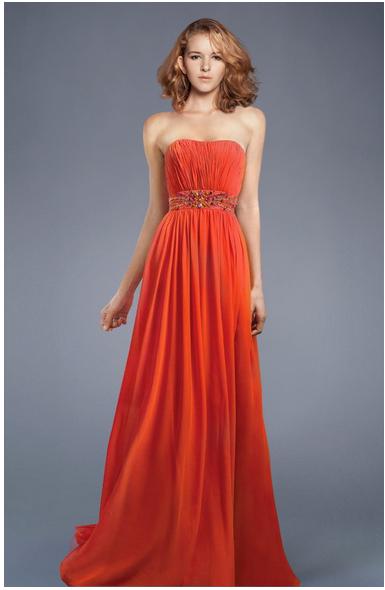 Intriguing Sweetheart Neckline Applique Beads Working Chiffon Orange Exquisite Floor Length Evening Dress