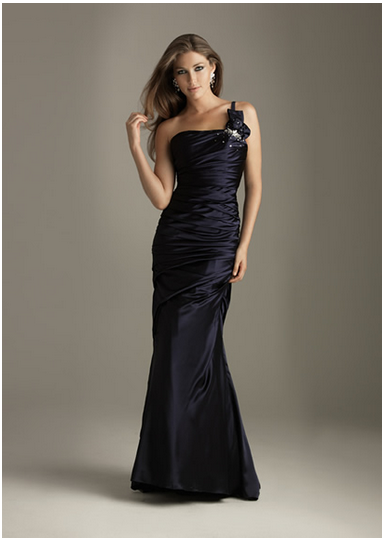 Engrossing One Shoulder Ruffle Flower Slinky Charming Satin Black Floor Length Evening Dress
