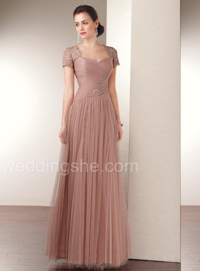 Sheath/Column Sweetheart Short Sleeves Floor-Length Mother of The Bride Dress