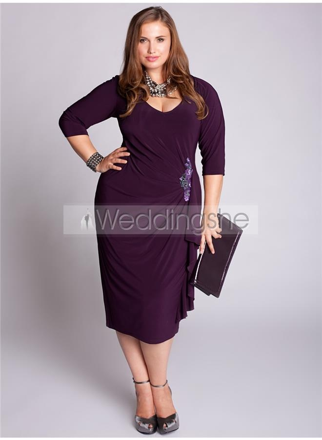 Delicated Crystal Floral Pin Sheath Knee-Length 3/4-Sleeves Mother of the Bride Dress