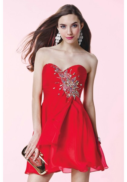 Hot Sale Sweetheart Mini Red Chiffon A Line Cocktail Homecoming Dress