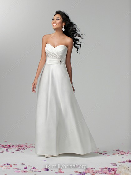 A-line Sweetheart Satin Floor-length Ivory Beading Wedding Dresses