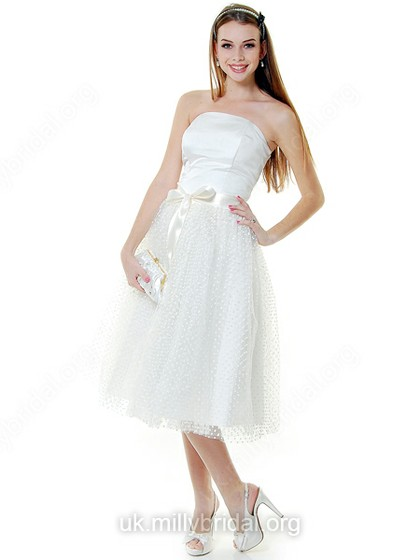 A-line Strapless Tulle Satin Tea-length Bow Wedding Dresses