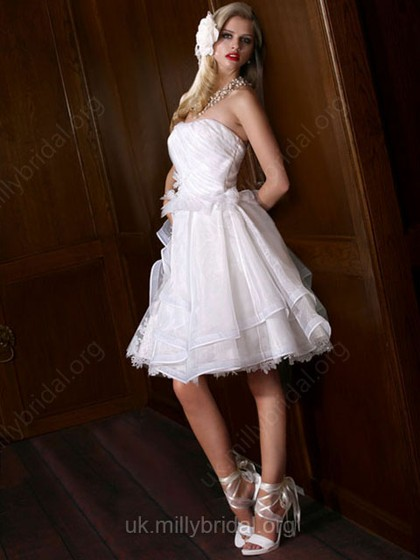 A-line Strapless Organza Tulle Knee-length Ruffles White Wedding Dresses