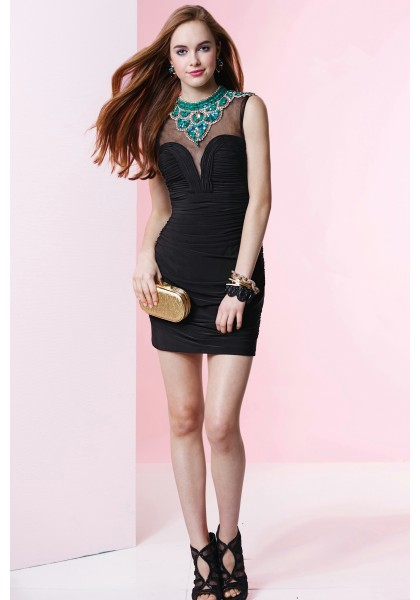 Fashionable Jewel Mini Black Chiffon Sheath Column Cocktail Homecoming Dress Photo credits: Wishesbridal