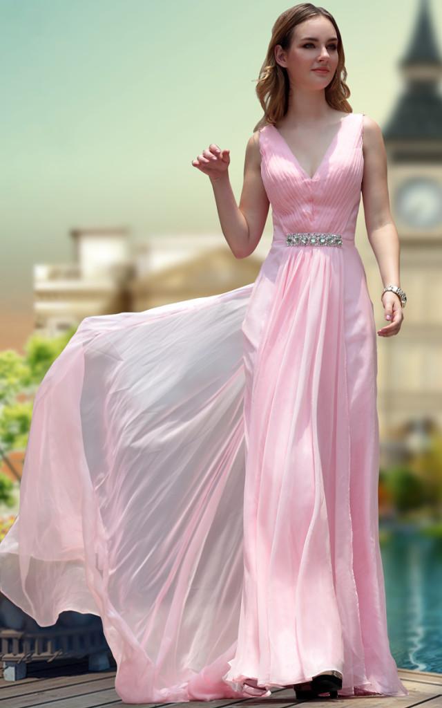 A-line V-neck Sleeveless Ruching Sweep/Brush Train Pink Chiffon Prom Dress