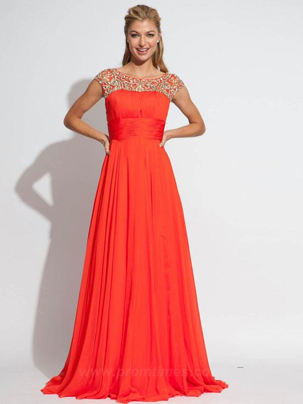 Bateau Sleeveless Floor-length Long Watermelon Evening Dresses