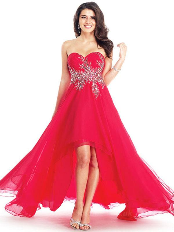 Sweetheart Sleeveless Asymmetrical Red Prom Dresses