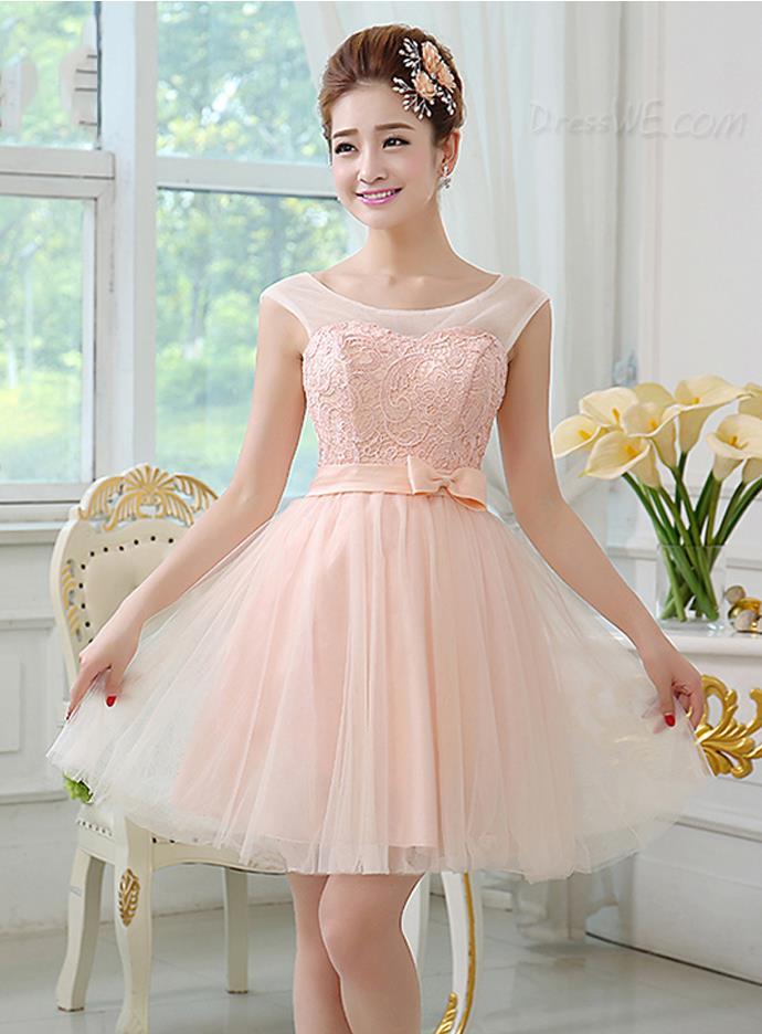 First-Class Scoop Neck Lace Bowknot Short Bridesmaid Dress