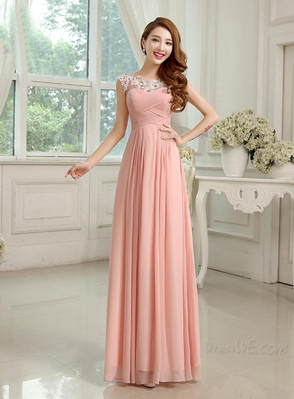 Simple Scoop Neck Appliques Ruched A-Line Bridesmaid Dress