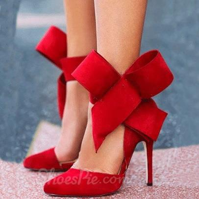 Glaring Red Suede Pointed Toe High Heel Sandals