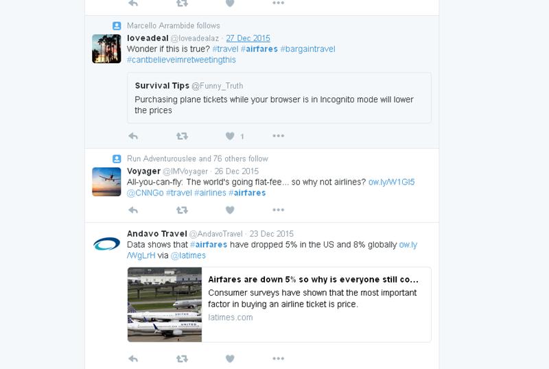check twitter for flight deals