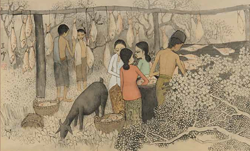 """Drying Salted Fish"" by Cheong Soo Pieng"
